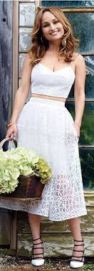 who made giada de laurentiis white cropped top lace pleated