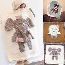 tapis ourson chambre b éléphant de bande dessinée ours licorne tricoté couverture bébé
