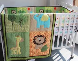 Cheap Baby Boy Crib Bedding Sets Embroidery 3d Elephant Deer Tree Baby Boy Bedding Set 6pcs