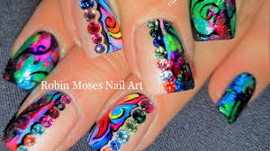 rainbow foil nails diy glitter spring bling nail art design