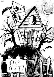 printable spooky house drawn haunted house spooky house 3344993