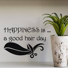 hair dresser s day wall decal quote happiness is a good hair day hair beauty salon