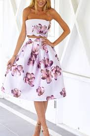 white floral strapless top round dress casual dress cute casual