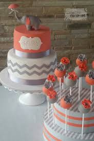 baby shower cake and cake pops in coral and grey babyshower