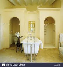 freestanding bath tub flanked by moorish alcoves with toilet and