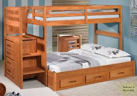 Wonderful Wooden Bunk Bed With Stairs Solid Wood Bunk Beds Futon - Solid oak bunk beds with stairs