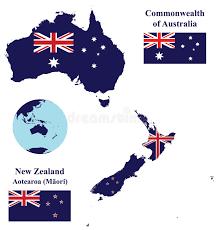 Muito Bandeira Do Mapa De Austrália E De Nova Zelândia Ilustração do  @UL34