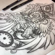 linedrawing for tomorrow owl allseeingeye pocketwatch chest
