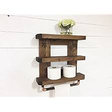 Wooden Shelves For Bathroom Rustic Wooden Bathroom Shelf Towel Rack Rod By