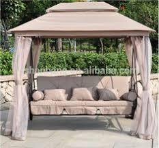 Swing Bed With Canopy Outdoor Swing 3 Person Patio Daybed Canopy Garden Gazebo Mesh