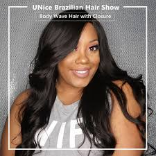 body wave hair with bangs unice 3 bundles brazilian body wave with lace closure unice