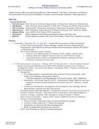 sle cv for quality assurance qa resume objective software testing sle resume quality assurance