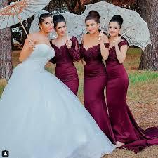 burgundy bridesmaid dresses aliexpress buy shoulder burgundy bridesmaid dresses