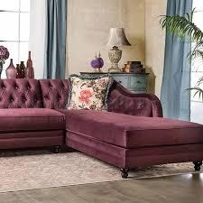 velvet sectional sofa sm2262 sectional sofa in plum velvet fabric