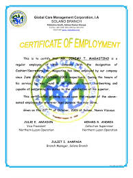 letter of certification of employment template example of certification letter for employment leading example of certification letter for employment certificate of employment jeremy