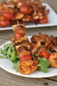 smoky paprika grilled shrimp and sausage skewers with smoky paprika glaze
