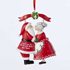 mr and mrs claus mistletoe ornament kurt s adler