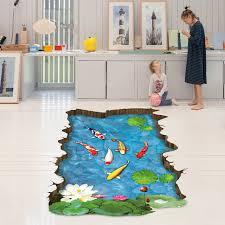 simulation 3d chambre 3d feuille de lotus étang à poissons stickers muraux coloré