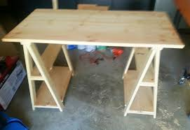 Ana White Sawhorse Desk Ana White 1x3 Whitewashed Sawhorse Desk Diy Projects