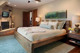 modern wood bed frame headboard rustic and modern wooden bed