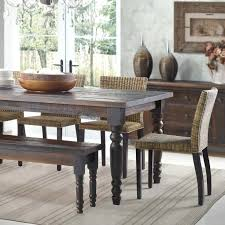 Dining Tables With Bench Seating Solid Wood Dining Table Bench Reclaimed Large With Dark Set Chunky