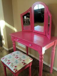 Girls Vanity Table And Stool Diy Wood Makeup Vanity Table Painted With Pink Color With Drawer