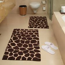 Bathroom Rugs And Accessories 2 Giraffe Bath Rug Set Chocolate And Beige Hayneedle