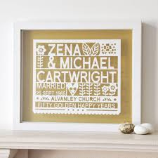 personalised 50th golden wedding anniversary gift by ant design