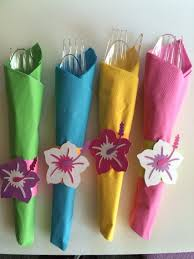 luau party napkins to bright colored napkins and wrapped