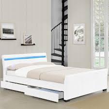 Schlafzimmer Bett Mit Led Corium Schubladenbett 140 180x200 Led Polster Kunst Leder Doppel