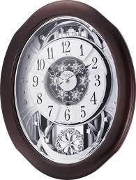 rhythm clocks anthology espresso musical motion wall clock 4mh869wu06