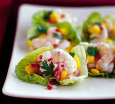 canapes with prawns gem cups with prawn mango salsa recipe food