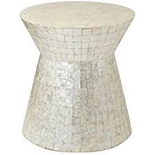 Capiz Vase Amazon Com East At Main Rossville Off White Wood And Capiz Round