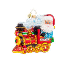 radko 1017843 north pole express santa driving train ornament