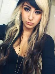 dark hair underneath light on top allison green hair two tone 2 blonde on top black underneath hair