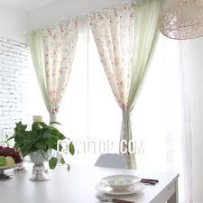 green beige striped floral country shabby chic splicing curtains