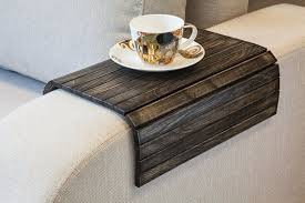 Small Coffee Table Sofa Tray Table Vintage Black Wood Table Laptop Tray Rustic