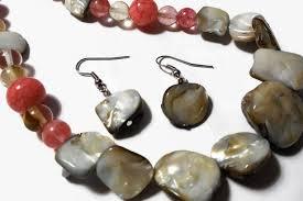 gemstone necklace sets images Red aventurine gemstone natural shell beige necklace set neutral jpg