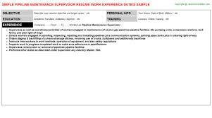 Maintenance Supervisor Resume Template Pipeline Maintenance Supervisor Resume Sample