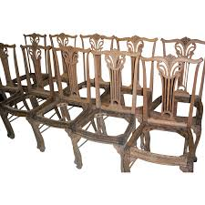 Chippendale Dining Room Chairs Oak Dining Chairs Upholstered Seats Chippendale Design Set Of