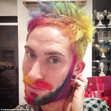 pictures of people who colored their hair with loreal feria b16 brightly colored facial hair is latest fad to grace the chins of