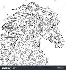 zentangle stylized cartoon horse mustang isolated stock vector