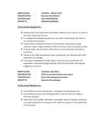 Executive Housekeeper Resume Resume Tunamaya2016