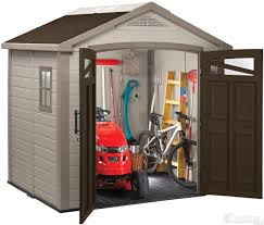 Backyard Storage Ideas by Decorating 7x7x8 Feet Fusion Keter Shed For Outdoor Storage Ideas