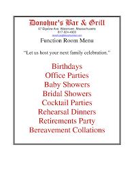 function menu u2013 donohue u0027s bar u0026 grill