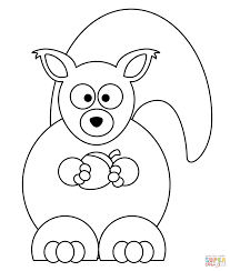 cartoon squirrel with acorn coloring page free printable
