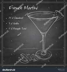 martini raspberry french martini cocktail on black board stock vector 347650838