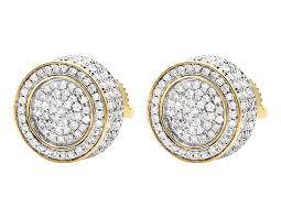 real diamond earrings unisex 10k yellow gold 3d pave set genuine diamond stud real