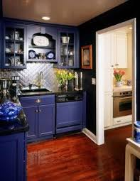 Cobalt Blue Kitchen Cabinets Kitchen Of The Day Kitchens Blue Glass Tile And Gray Stained