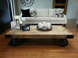 Industrial Rustic Coffee Table Impressive Rustic Coffee Table With Wheels Coffee Tables Design